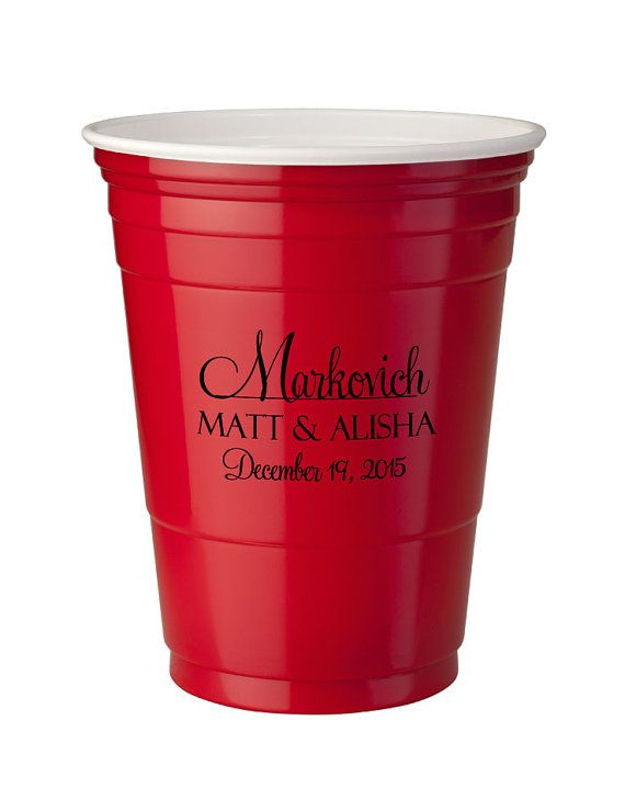 250 Personalized 16oz Red Solo Cups Wedding Favor Bar by Factory21