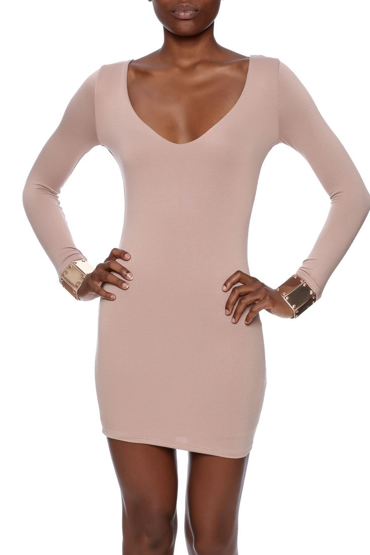 Taupe long sleeve dress with a v-neckline and metal embellished cuff.    Metal Sleeve Dress by Lac Bleu. Clothing - Dresses - Long Sleeve New York City