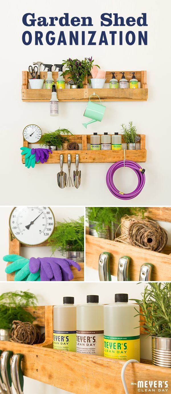 Whether you keep your gardening tools in a shed or simply the corner of the garage, make sure yours don't miss out on a bit of spring cleaning action. To keep all your tools organized, begin by finding a shelving unit to hold all of them. From there, a few nails and a big S-hook are all you need to hold your gardening gadgets, watering cans and hoses. Finally, use a tin bucket to corral all your other items, such as shears and gardening gloves. Click through for the full DIY from…