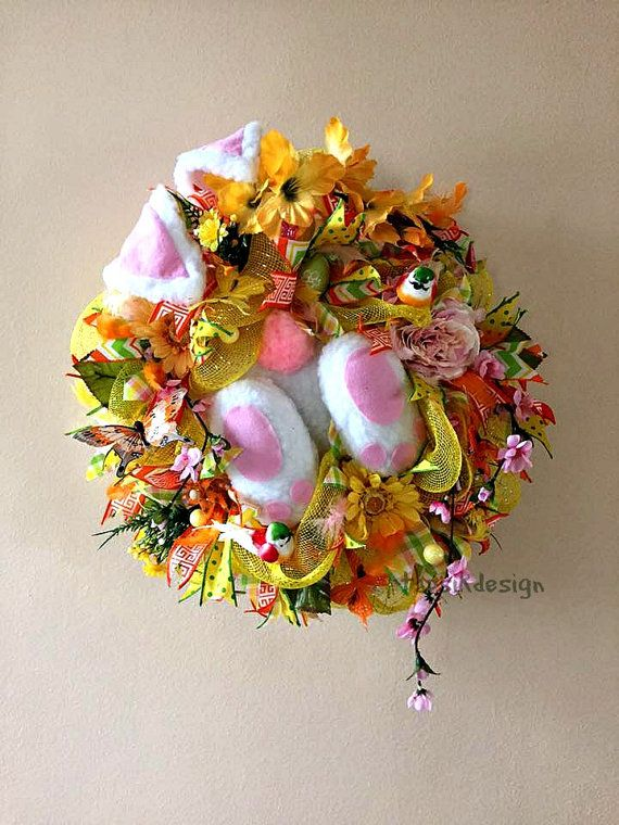 Bunny Wreath Deco Mesh Spring Wreath Easter Wreaths Front