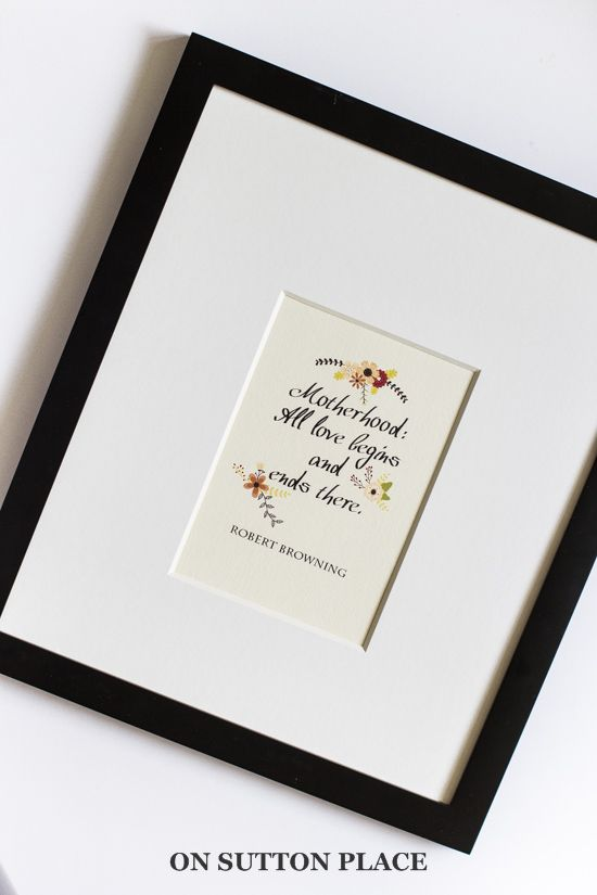 Ready to frame Motherhood free printables | the perfect Mother's Day handmade gift!