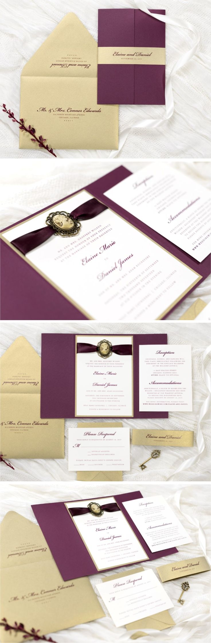 Victorian Style Gatefold Wedding Invitation with Vintage Style Cameo Silhouette Embellishment | Ivory, Gold Leaf, and Burgundy / Wine | The Cameo Suite