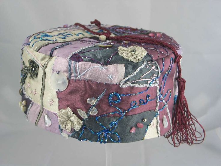 Handmade Smoking Cap - Lounging Hat - Crazy Patchwork Pure Silk Multicoloured Plus Beadsand And Embroidery