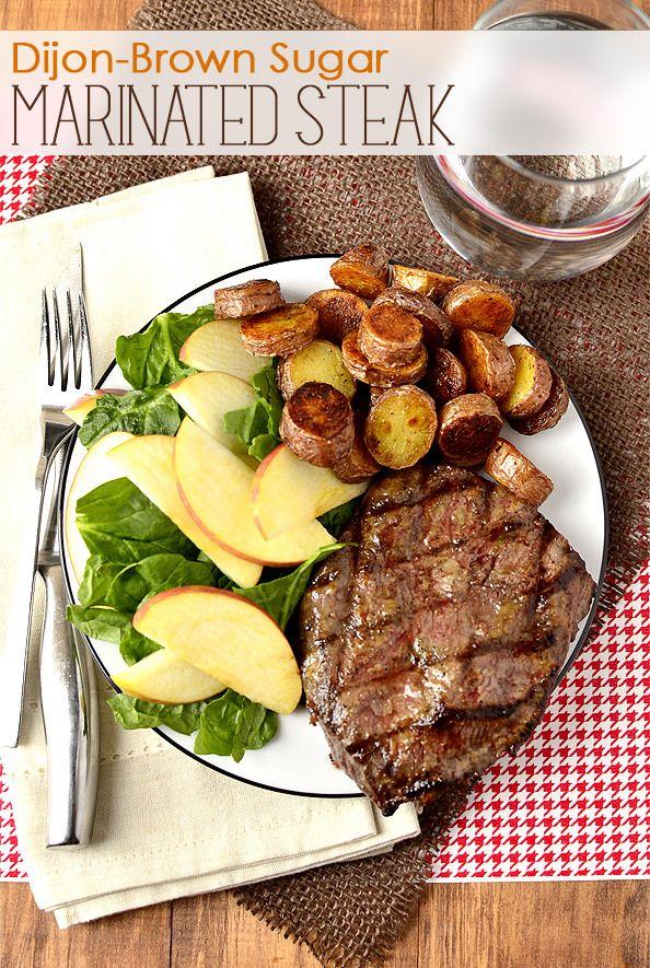 Dijon-Brown Sugar Marinated Steak...just dijon mustard, brown sugar and EVOO...that's it!     iowagirleats.com