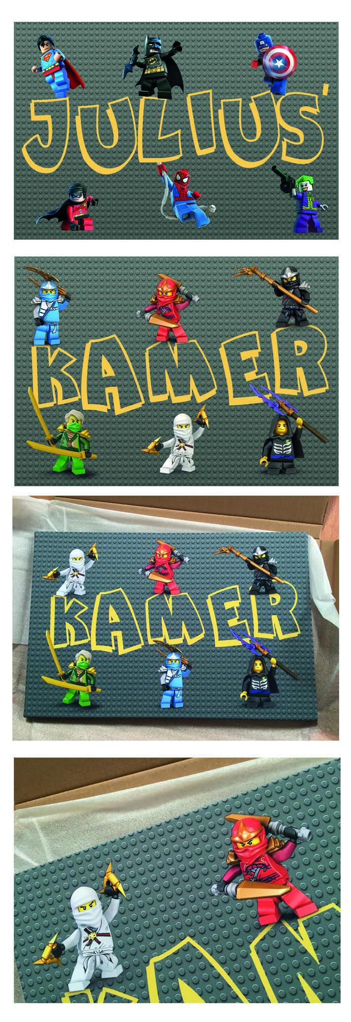 Muurdecoratie - jongenskamer - lego ninjago - lego superhelden - op canvas - eigen naam - ook te verkrijgen in minions of frozen - verschillende afmetingen - ontwerp en prijs op aanvraag - info@kantenclaar.com