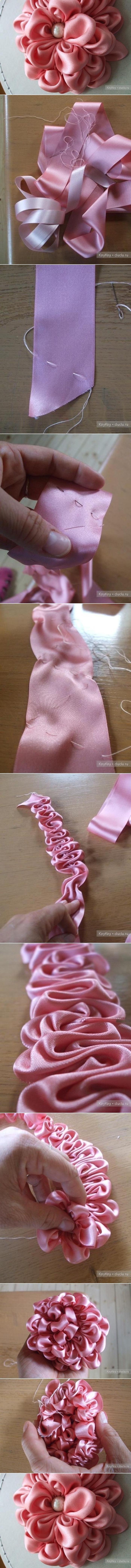 DIY Ribbon Crafts : DIY Ruffled Ribbin Flower