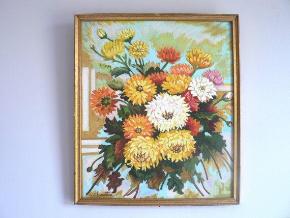 Vintage Original Floral Oil Painting  Yellow Flowers  Floral