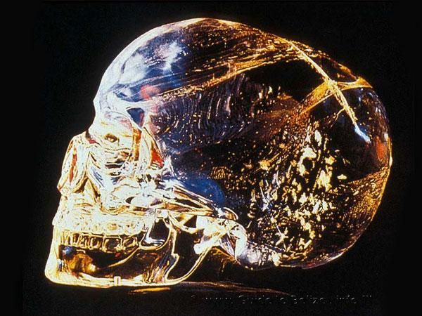 """The Crystal Skull of Lubaantun  Also known as the """"skull of doom"""", it was discovered in 1924 during an excavation of the ancient Mayan city ofLubaantunin Belize."""