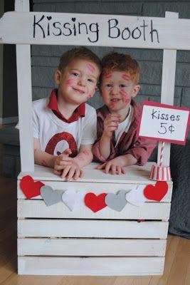 Twin Valentine Photo Idea: DIY Valentine's Kissing Booth