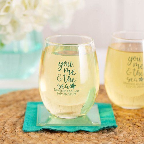 Ocean Blue Wedding Favors And Decor Ideas Wine Glass Favors