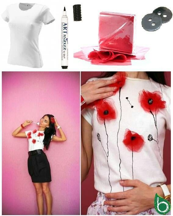 Camiseta tuneada con un poco de tul rojo y unos botones para hacer unas amapolas. T-shirt diy