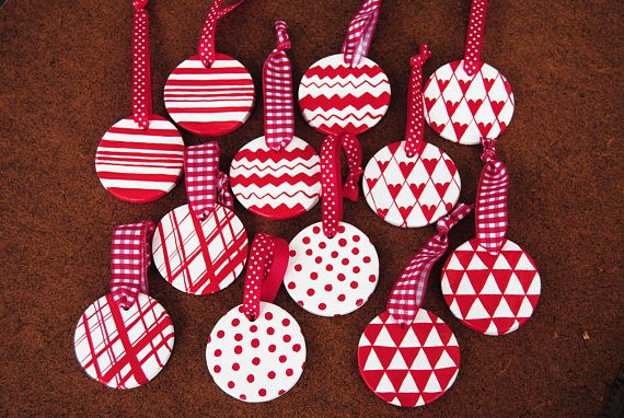 Set 12 Scandinavian Red and White Christmas tree ornaments