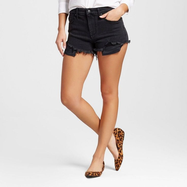 Women's High-rise Shorts with Raw Hem Black 10 - Mossimo