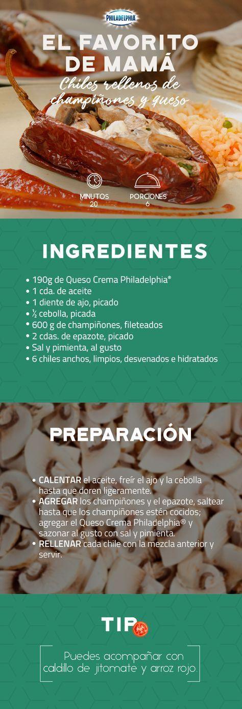 Es tu turno de consentir a tu mamá con unos Chiles rellenos de champiñones y queso. #recetas #receta #quesophiladelphia #philadelphia #crema #quesocrema #queso #comida #cocinar #cocinamexicana #recetasfáciles #chiles #chilesrellenos #arroz #champiñones #chile #comidamexicana #recetasconchampiñones #recetasconchiles #familia