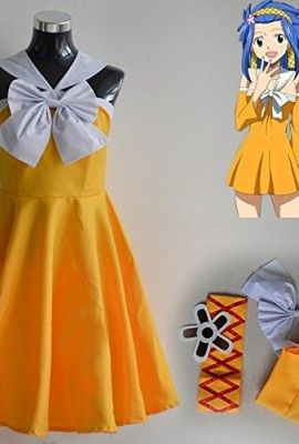 Fairy-Tail-Levy-Mcgarden-Yellow-Dress-Cosplay-Costume-0