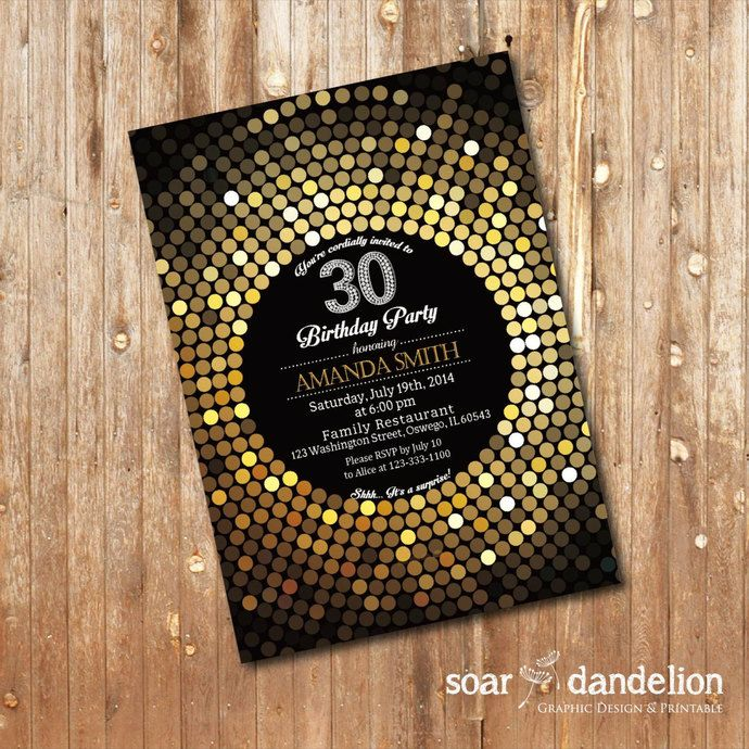 30th Birthday Party Invitation Women Elegant 40th 50th 60th 70th