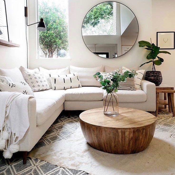 Modern Living Room Decor Wood Coffee Table Round Mirror Living Room Decor Minimalist Decor Ideas Wohnzimmer Modern Wohnzimmer Dekor Wohnzimmer Dekoration Ideen