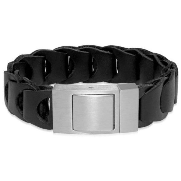 Belk & Co.  Men's Stainless Steel And Black Leather Bracelet (€87) ❤ liked on Polyvore featuring men's fashion, men's jewelry, men's bracelets, black, mens woven bracelets, mens bracelets, mens watches jewelry, mens leather braided bracelets and mens woven leather bracelets