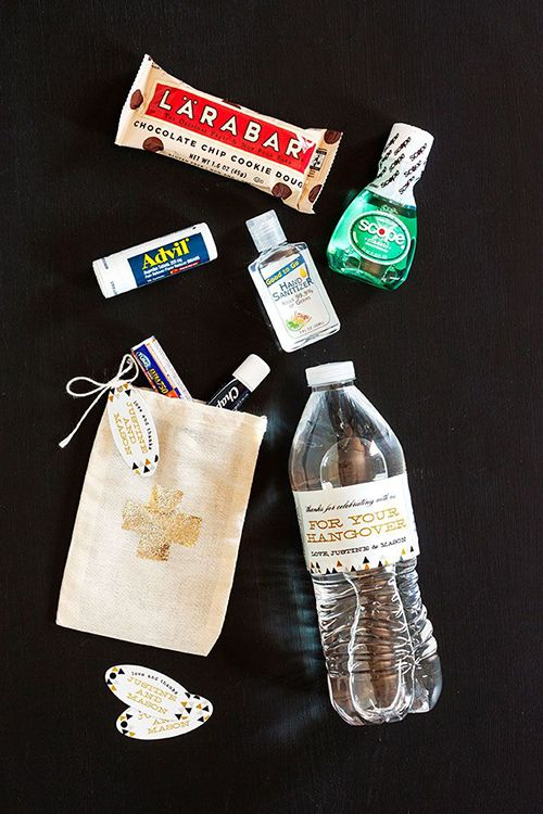 A hangover kit with water, mouthwash, and Tums!   Brides.com