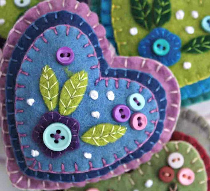 Felt heart ornament, Blue and lilac hanging heart, floral felt decoration, handmade felt heart ornament, embroidered heart ornament. by PuffinPatchwork on Etsy https://www.etsy.com/listing/90360826/felt-heart-ornament-blue-and-lilac
