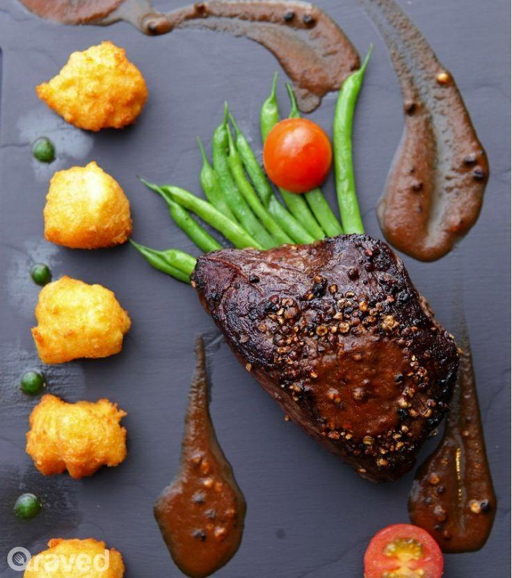 #laurelpine #wagyubeef Wagyu Beef Pepper Steak at Auroz www.enjoyfoiegras.com