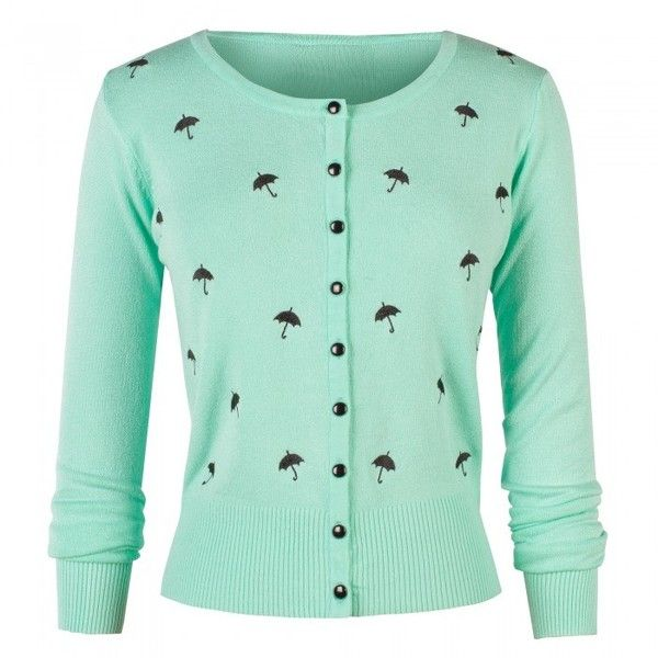 Long Sleeved Mint Cardigan with Black Umbrella Embroidery ❤ liked on Polyvore featuring tops, cardigans, black long sleeve cardigan, mint cardigan, embellished cardigan, embroidered cardigan and black top