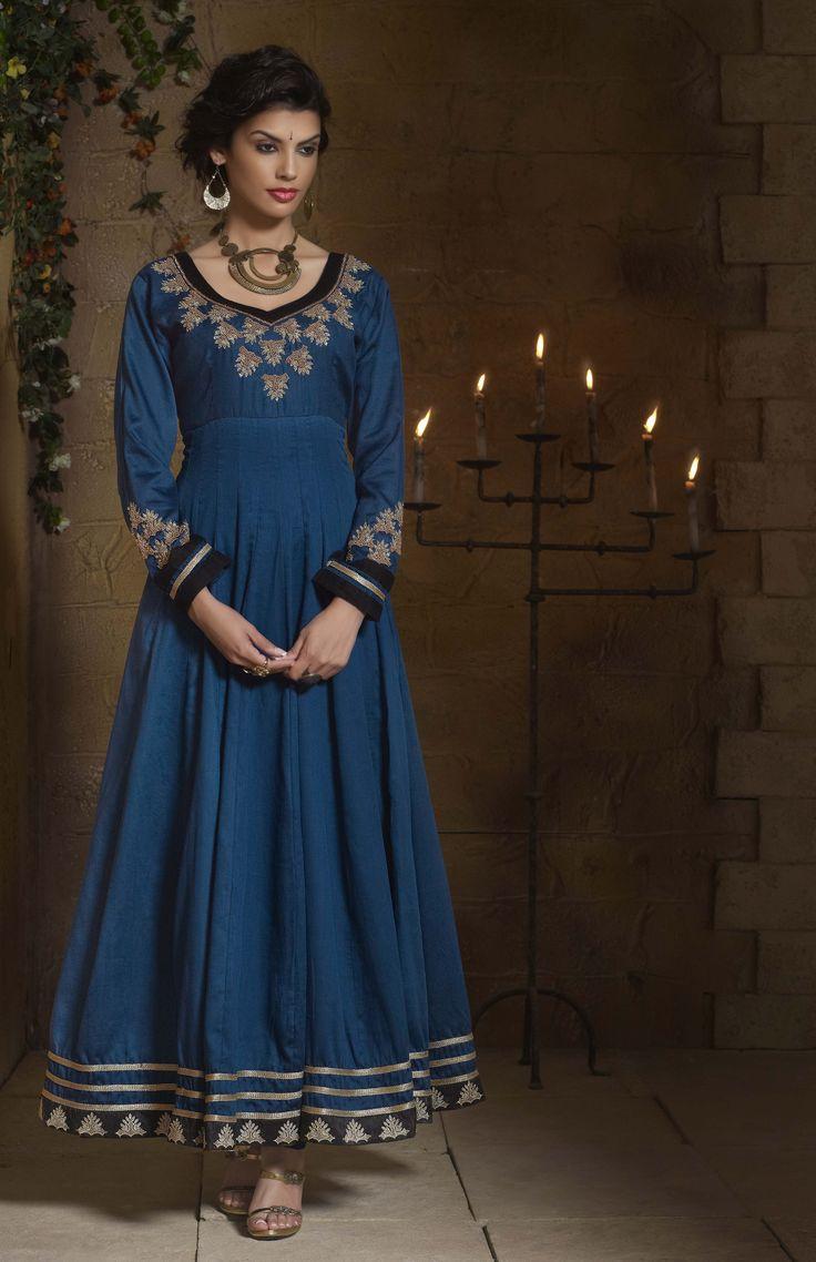Shop Online http://www.ethnicdukaan.com/art-silk-anarkali-with-zari-embroidery-stone-embellishment-d0302005