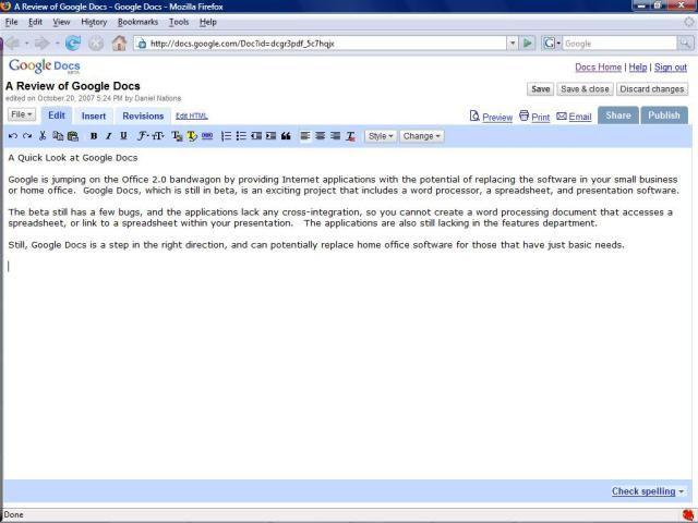 Free Online Word Processors: Google Docs