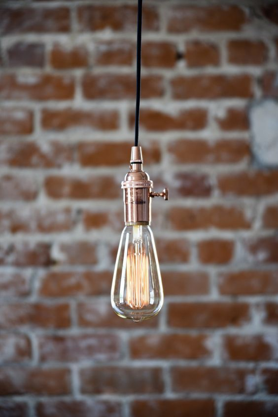 Industrial Plug In Pendant Light Copper Bare Bulb Socket Edison Bulb with Plug or Canopy Rayon Cloth Covered Black Brown White Zig Zag Wire by IlluminateVintage on Etsy https://www.etsy.com/listing/190145117/industrial-plug-in-pendant-light-copper