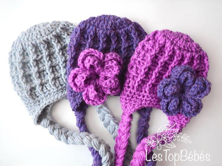 Earflap crochet baby girl and baby boy hats  www.lestopbebes.etsy.com