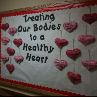 February Bulletin Board Idea: Instead of the normal Valentine's Day board, discuss the importance of keeping your heart healthy and create a bulletin board from the answers the kiddos give you. My kiddos made the hearts and stuffed them with pillow stuffing to make the board 3D.