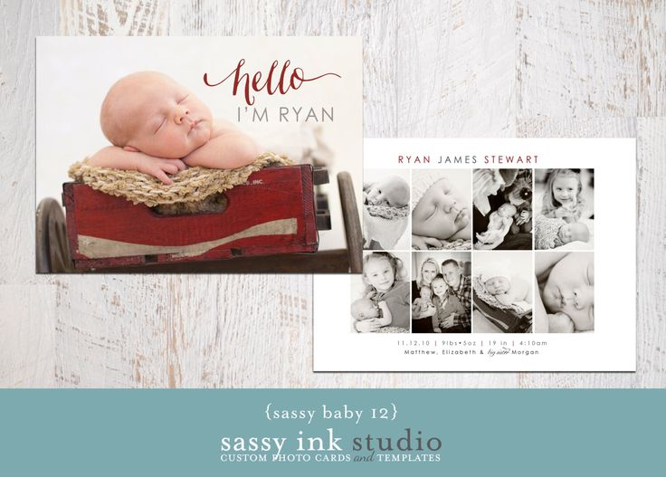 Hello Baby Collage Photo Birth Announcement Template (baby no. 12) - Instant Download by SassyInkStudio on Etsy https://www.etsy.com/listing/179424574/hello-baby-collage-photo-birth