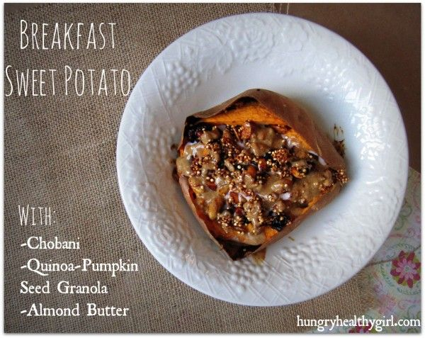 Breakfast Sweet Potato. This would be great with Udi's #glutenfree Cranberry granola!Seeds Granola, Quinoa Granola, Pumpkin Granola, Seeds Quinoa, Potatoes Breakfast, Almond Butter, Quinoa Pumpkin Seeds, Granola Recipe, Breakfast Sweets Potatoes