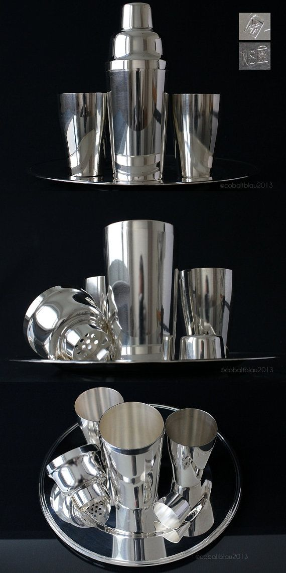 Nice 1950s 1960s Silver Cocktail Shaker Set · Vintage Barware U0026 Bar Cart  Accessories