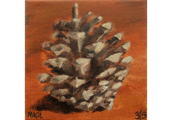Little Pine Cone (May 2014) original oil painting still life on box canvas on Etsy, £60.00