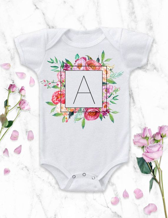 This custom personalized monogram baby girl Onesie® bodysuit is perfect for your baby girls birthday party, and she can even wear it year-round! Also available in toddler t-shirts! Shop the outfit here: https://www.etsy.com/listing/265146743/monogram-baby-girl-monogram-baby-onesie?ref=shop_home_active_21