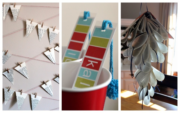 book swap party: mini bunting, personalized bookmarks, book sculpture mobile
