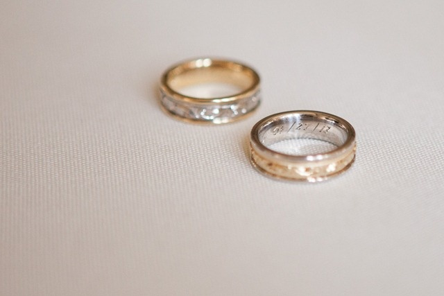 The rings are engraved with the wedding date