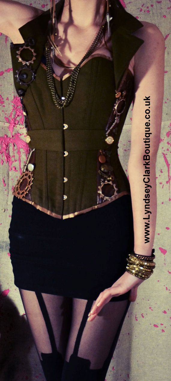 Steampunk corset military army armed forces for by LyndseyBoutique