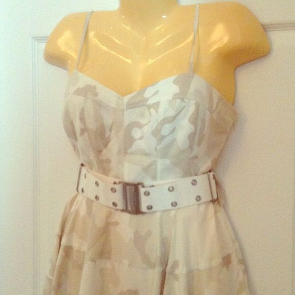Guess Marciano Camo Dress Size 8 Guess Marciano Camo Dress Size 8 ! Like new worn only once! Super cute Camo dress light brown colors, adjustable spaghetti straps and adjustable belt! Purchased this dress for almost $200! No flaws! Marciano Dresses Mini