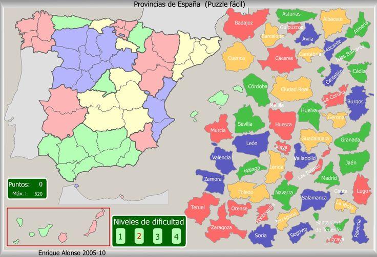 Mapa interactivo de las provincias españolas  Puzzle fácil. Enrique Alonso - Mapas Flash Interactivos