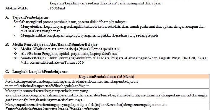 Rpp 1 Lembar Kelas 8 Bahasa Inggris K13 Revisi 2020 Di 2020 Model Pembelajaran Belajar Bahasa