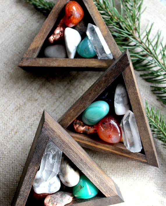 miniature tumbled stones and crystal point instant collection in handmade wood triangle box... Awesome crystal collection, Mom she's from philly get it before it sells out please.
