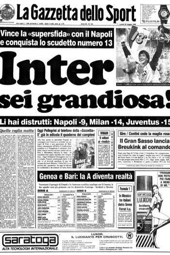 Così il 29 maggio 1989 Gazzetta celebra il 13° scudetto dell'Inter