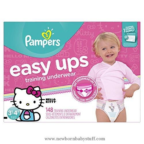 Baby Girl Clothes Pampers Easy Ups Disposable Training Underwear Girls 3T-4T (Size 5), 148 Count (One Month Supply) -- Packaging May Vary