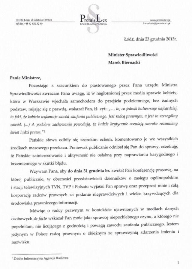 Kompromitacja ministra. Mecenas Izabela Chmielewska żąda sprostowania   niezalezna.pl