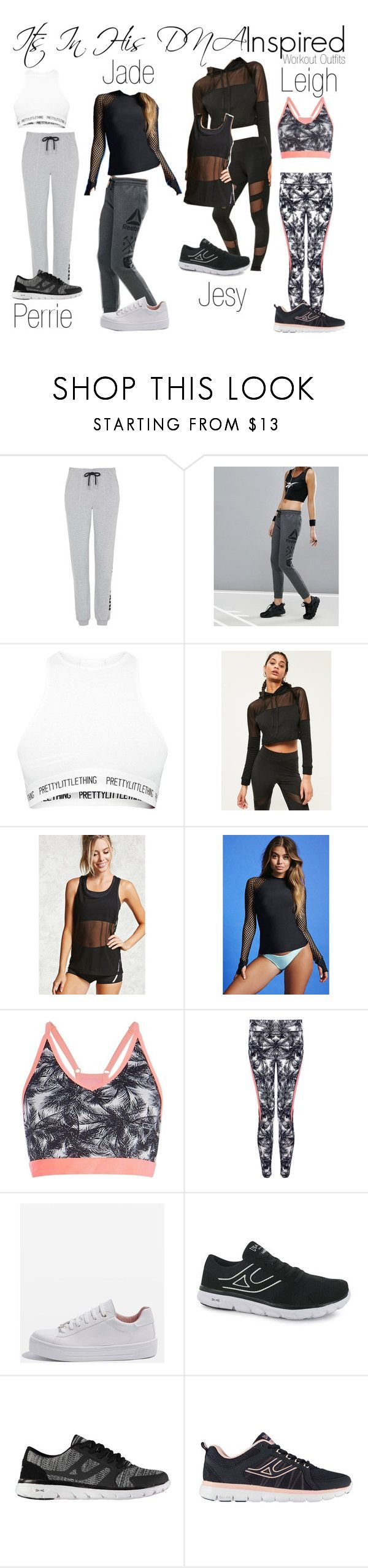 """Little Mix Inspired Workout Outfits"" by katiehorror ❤ liked on Polyvore featuring Topshop, Reebok, Missguided, Forever 21 and USA Pro"