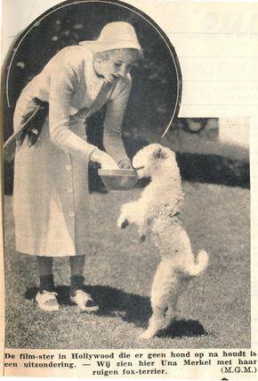 Actress Una Merkel with a fox terrier, 1937.