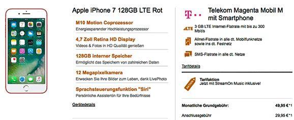 Telekom Magenta Mobil M mit Apple iPhone 7 128GB für 1,00€ zum Vertrag inklusive StreamOn Music , 3 GB LTE Internet-Flatrate , Telefon Allnet-Flatrate , SMS-Flatrate und HotSpot Flat im Netz der Telekom.   #Apple #iPhone7 #iOSSmartphone