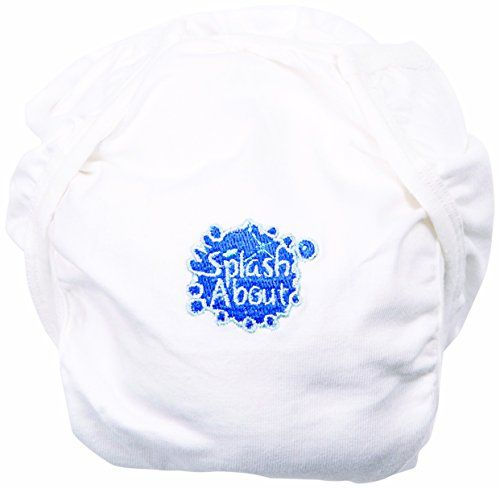 Happy Nappy Splash About Cotton Nappy Wrap Size M/L, White:   This lovely soft white cotton nappy wrap, with embroidered logo, forms part of our fantastic new environmentally friendly nappy system. Though the Happy Nappy works perfectly well alone it is easier to clean up if a liner of some type is used inside so we have developed a system to save you money to protect the environment. Stage 1. 25 Biodegradable, flushable liners to hold solids (available seperately), ideal to use with n...